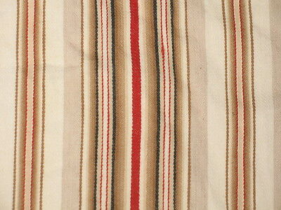 ANTIQUE VTG FRENCH TICKING STRIPE COTTON FABRIC Tan Red Black Cream ~ 2 PIECES