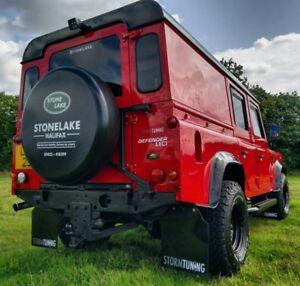 Land Rover Defender 90 200 TDI Tuff-rok Mud Flap Conjunto Negro Brillante