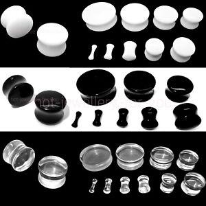 DRUM-FLESH-TUNNEL-EAR-PLUG-ACRYLIC-STRETCHER-DOUBLE-FLARED-white-black-clear