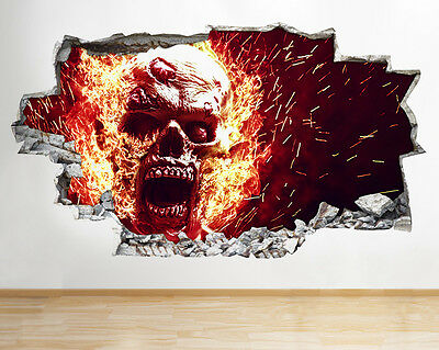 Wall Stickers Skulls Horror Cool Bedroom Smashed Decal 3D Art Vinyl Room C286