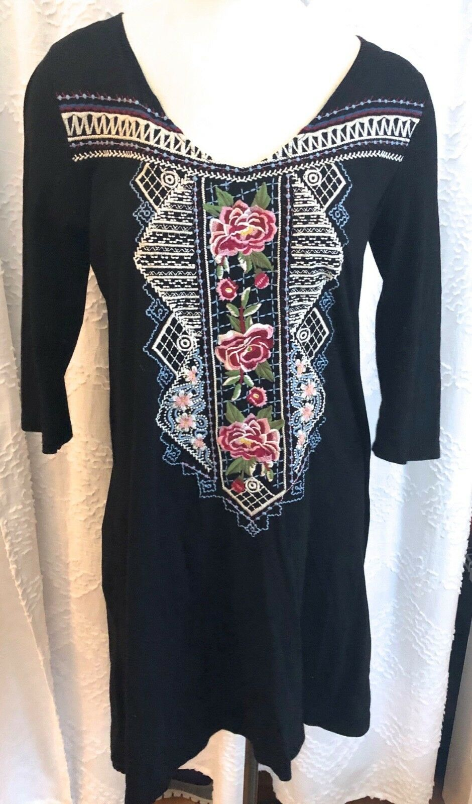 Johnny Was JW Los Angeles M schwarz Cotton Knit Tunic Dress Embroiderot rot Rosas