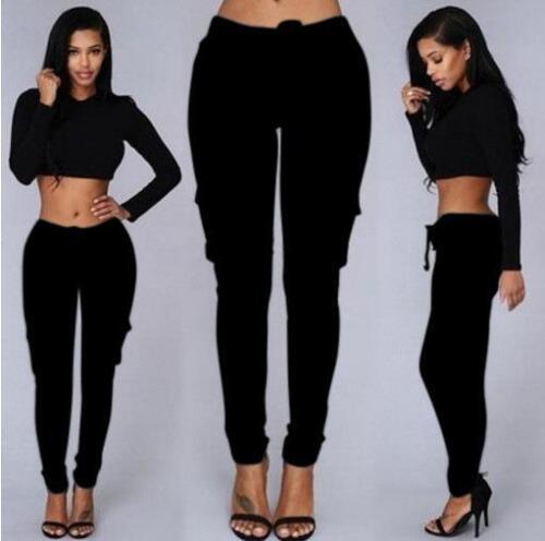 Damen Chinohose Stretch Drawstring Hoch Taile Freizeithose Stoffhose Trousers GS