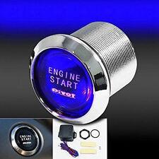Blue Car Round Ignition Switch Push Botton Engine Starter 12V Wired Controller