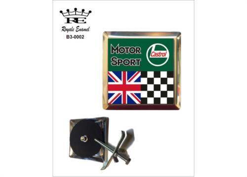 ROYALE CAR GRILL BADGE /& FITTINGS BRITISH MOTOR SPORT CASTROL OIL B3.0002