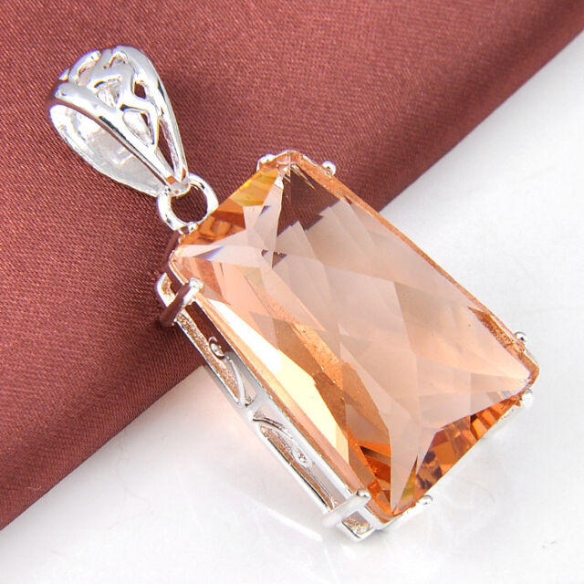 Huge Square Honey Morganite Gemstone Silver Necklace Pendant Valentine's Hot