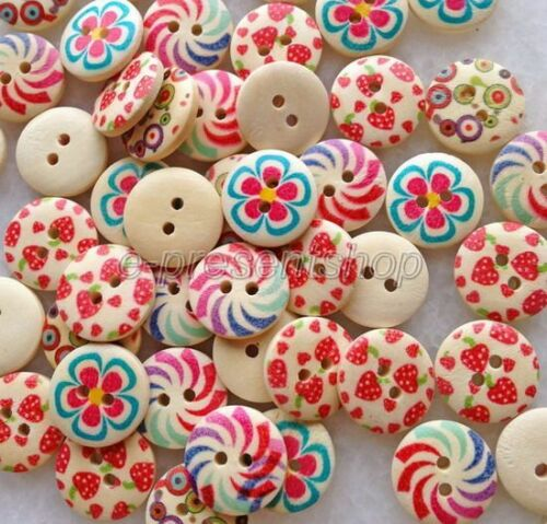 100pcs Mixed Color Pattern Round 2-Holes Wooden Sewing Buttons Scrapbook Bnk026