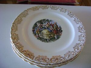 Image is loading American-China-Dec-Co-Warranted-22k-Gold-Antique- & American China Dec.Co Warranted 22k Gold Antique China Plates (set ...