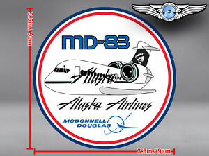 ALASKA AIRLINES PUDGY MD83 ROUND DECAL / STICKER