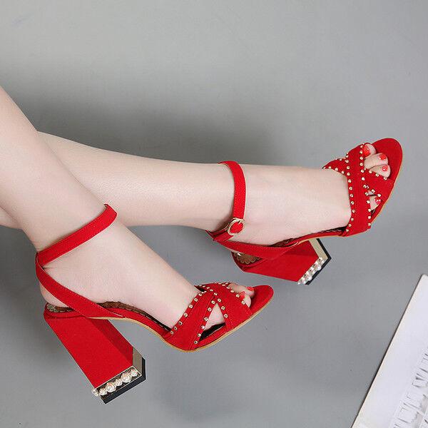 zapatos de salón 11 cm elegantes cómodo rojo talón cuadrado sandalias como piel
