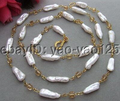 """R070102 45"""" 26MM Biwa Pearl&Crystal Necklace"""
