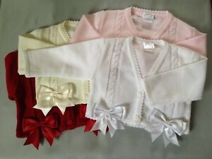 Baby bolero cardigan BOWS girls spanish style christening wedding 0-3 MONTHS WHITE WITH PINK BOWS