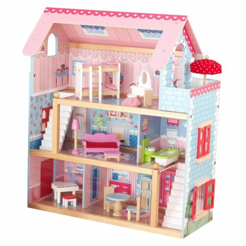 KidKraft Chelsea Wooden Dollhouse Pretend Play Cottage with Furniture 65054