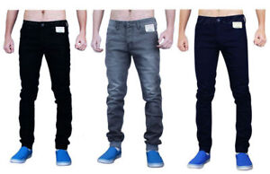 Enzo-Mens-Skinny-Jeans-Stretch-Cuffed-Soft-Fabric-Slim-Fit-Pants-Trousers