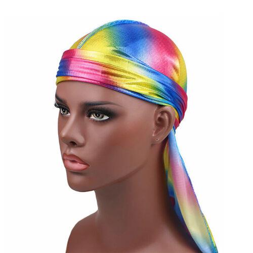 Fashion Women Men Silky Durag Head Wrap Cap Summer Bandannas Rag Hat BE