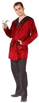 Mens Smoking Jacket Costume Pimp Playboy Parody Old Man Casanova Red Velvet NEW