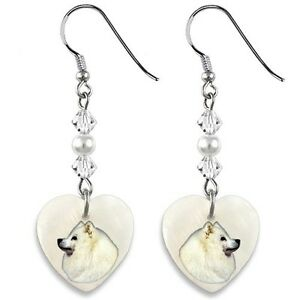 Akita Dog 925 Sterling Silver Heart Mother Of Pearl Dangle Earrings EP33