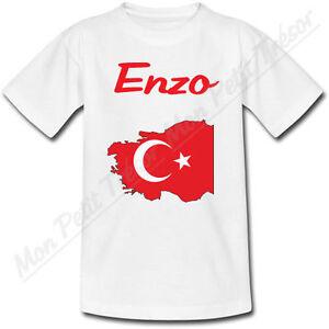 T-shirt-Enfant-Carte-Turquie-avec-Drapeau-avec-Prenom-Personnalise