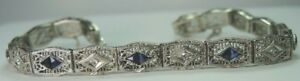 Antique-Art-Deco-14K-White-Gold-Synthetic-Sapphire-Filigree-Bracelet-6-75-034-Fine