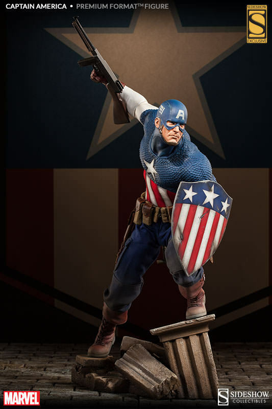 MARVEL CAPTAIN AMERICA Charge on Hydra PREMIUM FORMAT STATUE SIDESHOW EXCLUSIVE