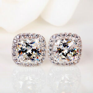 Gorgeous-Princess-White-Sapphire-Square-Stud-Earrings-925-Silver-Wedding-Jewelry