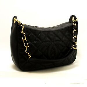 69d65b8bd508 Image is loading Q84-CHANEL-Authentic-Caviar-Chain-One-Shoulder-Bag-