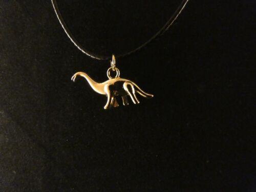Brachiosaurus  Dinosaurier Anhänger mit Kette 24 Karat Vergoldet Charm Dino Gold