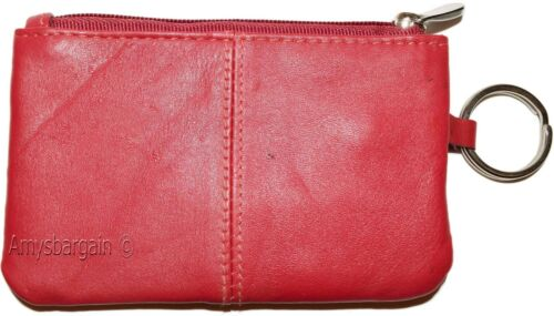 New Leather change purse 2 pocket coin case w//key ring NWT Red Zip coin wallet