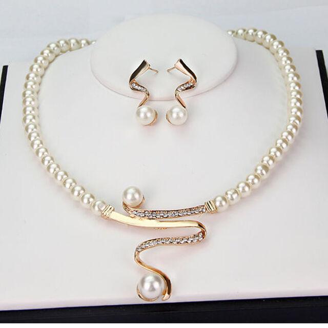 Damen Strass Perlen Hochzeit Schmuck Set Wave Halskette+Ohrringe Brautschmuck