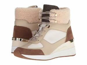 Michael-Kors-Liv-Bootie-Canvas-Wedge-Cream-Dark-Caramel-Sneakers-Size-9-5