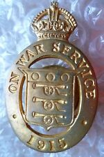 Badge- On War Service 1915 Lapel Badge KC ,no. 16987; maker JR GAUNT (All BRASS)