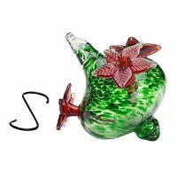 HUMMINGBIRD FEEDERS  Hand-Blown Green Glass Red Flowers Vase Garden Art Bird