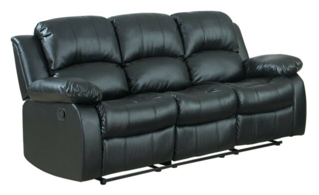 Classic Modern Couch in Bonded Leather Fabric, 3 Seater Recliner Sofa Black