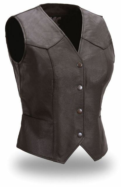 Ladies Fitted Sweet Sienna Leather Vest