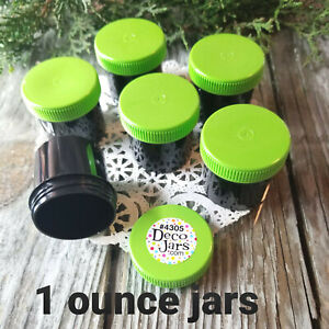 12-Black-Plastic-1-ounce-Jars-Container-Lime-Green-Cap-Lid-Top-4305-USA