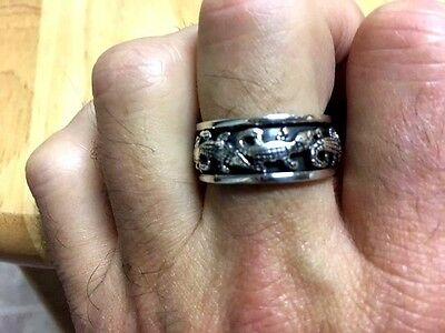 Alligator Oxidized Spin Sterling Silver Ring - Sizes 10-12 -  .925 Pure Silver