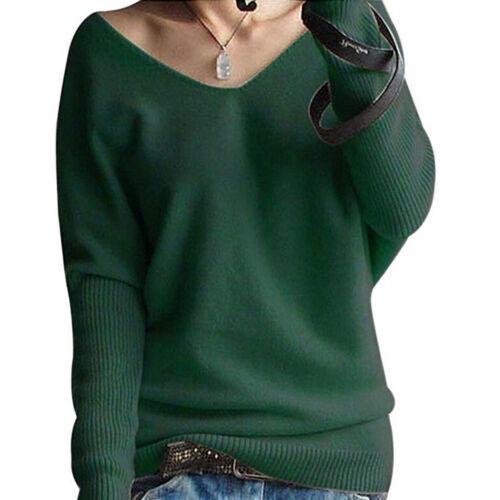 Women Long Sleeve Knitted Sweater Jumper Pullover Tops Blouse Warm Winter EN