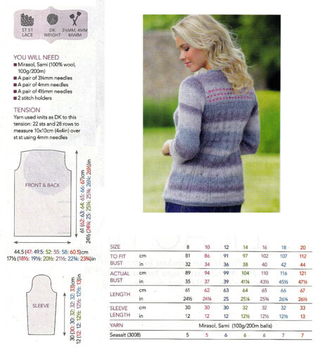 "KNITTING PATTERN LADY 32-44/"" FLATTERING LACE MOTIF JUMPER 3//4-SLEEVE DK SKM AUA"