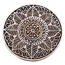 Wooden Floral Stamp Hand Carved Women Printing Block Art Brown Textile Stamp