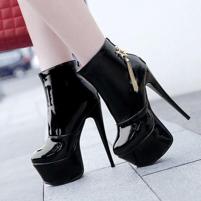 Sexy 46 47 48 Ankle Stiefel Stiefeletten Damen Plateau Super High Heel Stilettos