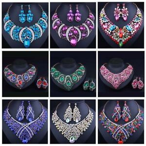 Fashion-Bib-Choker-Crystal-Pendant-Statement-Necklace-Earrings-Party-Jewelry-Set