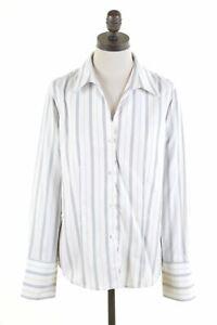 JONES-NEW-YORK-Womens-Shirt-US-10-Large-White-Striped-Cotton-JD45