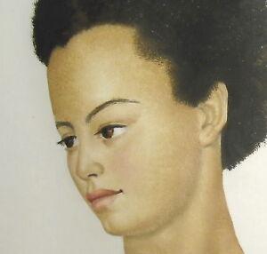 Omer Van De Weyer Gouache Portrait De Jeune-femme Noire Young Black Woman Afro CoûT ModéRé