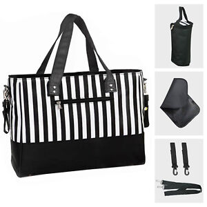 Baby-Changing-Bags-Large-Nappy-Bag-Mummy-Diaper-Tote-5PCS-Black-White