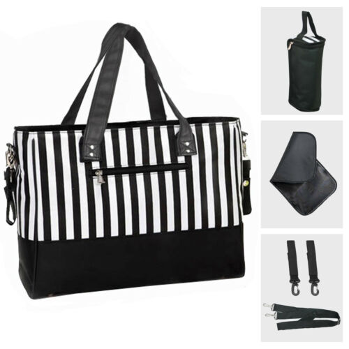 Baby Changing Bags Large Nappy Bag Mummy Diaper Tote 5PCS Black White