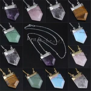 Silver-Gold-Plated-Multiple-Stone-Shield-Shape-Hearing-Chakra-Pendant-Necklace