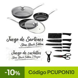 JUEGO DE 3 SARTENES 2 TAPAS CUCHILLOS TIJERAS COLOR NEGRO PIEDRA APTO HORNO