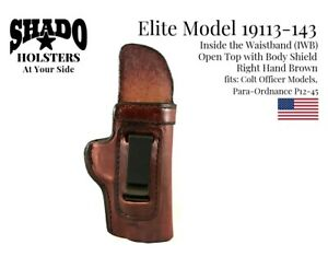 SHADO Leather Holster USA Elite Model 19113-143 Right Hand Brown Colt Officer