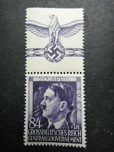 Germany Nazi 1944 Stamp MNH Adolf Hitler 55th birthday Swastika Eagle Generalgou