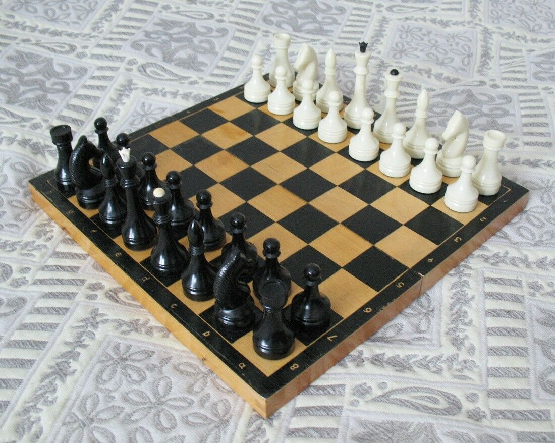 Vintage Russian Large CHESS SET Plastic Chess USSR Wooden Board 40 x 40 cm