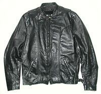 Vintage Brooks Men's Black Leather Motorcycle Biker Jacket, Sz 42
